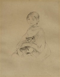 fillette au chat by berthe morisot