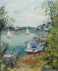 boats on the river by yolande ardissone