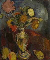vaas met bloemen en vruchten (vase with flowers and fruits) by gustave de smet