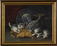 three kittens at play by c. l. van vredenburgh