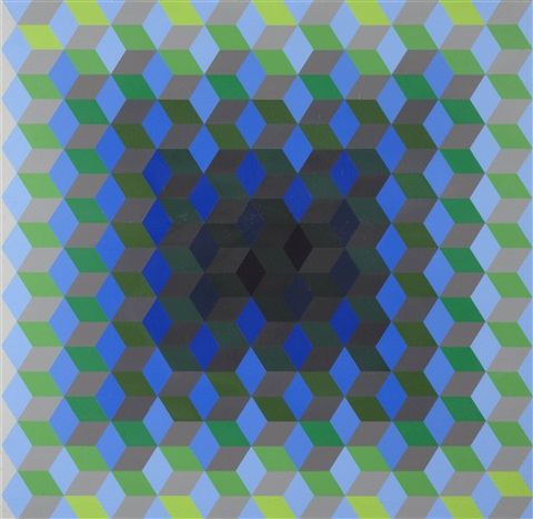 homage to the hexagon portfolio of 4 by victor vasarely