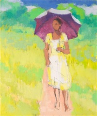 man with umbrella (+ woman with umbrella; 2 works) by jonathan scott