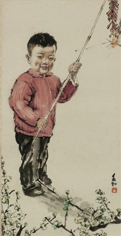 小孩-报春图 boy and new year by jiang zhaohe