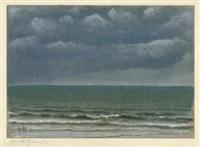 gewitterhimmel (+ helle, glatte see under wolkigem himmel, 1924; 2 works) by karl godeg