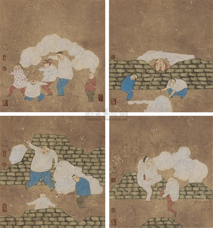 the memory of childhood (4 works) by bai peng