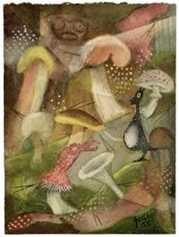 waldlichtung mit pilzen und gnomen (+ 3 others, mixed media; 4 works) by karl godeg