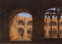 a gothic cloister with figures by alexandre raulin