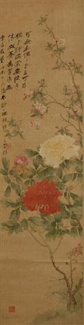 花卉 张大千题跋 flower colophon by zhang daqian by zou yigui