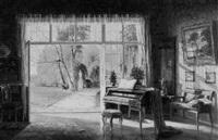 bürgerliches interieur, mit klavier by ernst lorenz