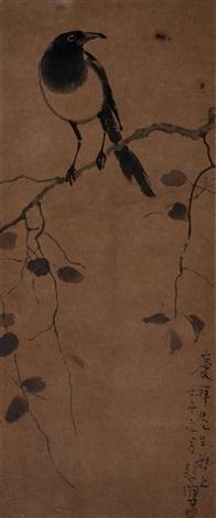 花鸟报喜图 magpie by xu beihong