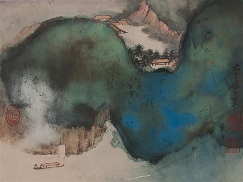 泼墨山水 verdant mountains and flowing boat by zhang daqian