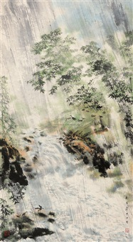 the waterfalls in the rain stampeding wild goose by liang zhongli