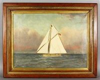 embroidered sail boat by thomas h. willis