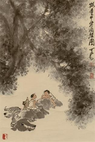 牧童牛背闲话图 by li keran