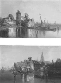 schiffe ankern vor einem kleinem städtchen by van hoom