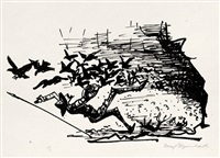illustration zu cervantes saavedra, miguel de: leben und taten des scharfsinnigen edlen don quijote von la mancha (22. kapitel) by josef hegenbarth