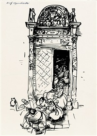 illustration zu cervantes saavedra, miguel de: leben und taten des scharfsinnigen edlen don quijote von la mancha (32. kapitel) by josef hegenbarth