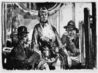 vor der staffelei (die ehefrau des künstlers mit conrad felixmüller und theodor rosenhauer) by ferdinand dorsch