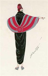 rückenansicht einer stehenden frau mit aufgetürmtem rotem haar, im langen schwarzen gewand mit rot-silber-gestreiftem cape um die schultern by erté