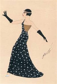 stehende frau mit bubikopf, im schwarzen abendkleid mit silberdekor, goldfarbenem halbseitigem oberteil und schwarzen langen handschuhen by erté