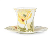 octagonal cup and saucer (set of 2) by rozenburg ceramics (co.)