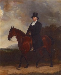 a portrait of a gentleman on horseback by henry calvert