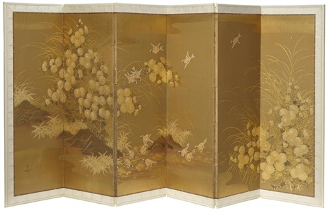 a hand-painted six panel screen by robert crowder