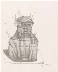 smoking buddha (preparatory drawing) 9 by zhang huan