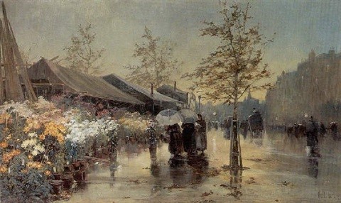 a flower market in wet weather by george charles haite