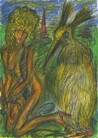 kniende nackte frau mit gelbem vogel by antonius höckelmann