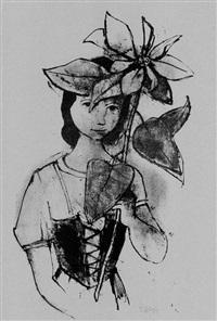 mädchen mit christblume by karl hofer