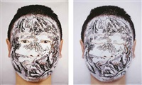face tattoo of chinese landscape series: winter (2 works) by huang yan