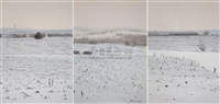 three-piece landscape (sketch) (in 3 parts) by shi guangwei
