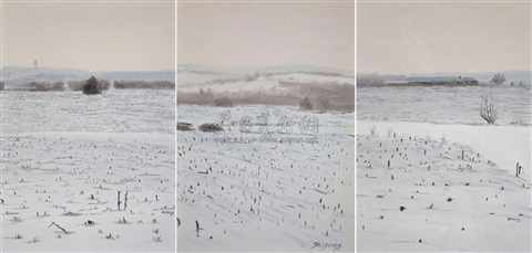 three piece landscape sketch in 3 parts by shi guangwei