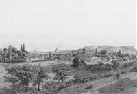 bâle, vue prise du côteau de bourgfelden by adolphe françois maugendre