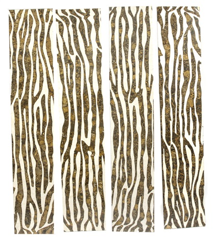 a four panel zebra print screen by arthur court