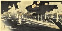 sensô-e (schlachtenbild) aus dem russisch-japanischen krieg, februar 1904 (triptych) (oban) by toyohide