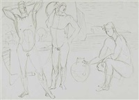 3 männliche akte mit krug vor einer landschaft by werner gilles