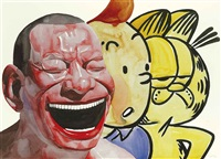 smile-ism - tin tin & garfield by yue minjun