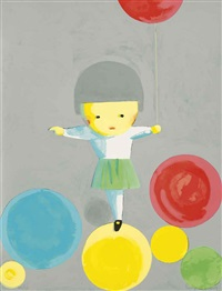 untitled (girl with balloons) by liu ye