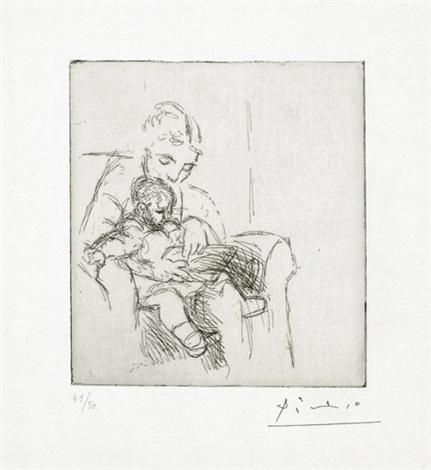 mère et fils olga et paulo by pablo picasso