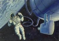 selbstporträt im kosmos mit kamera by alexei leonov