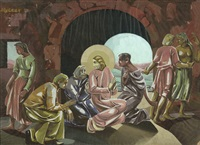 jesus im kreise seiner jünger by moritz (moriz) melzer