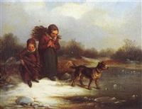 holz sammelnde kinder im winter mit hund by elisabeth modell