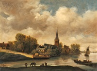 village on a river with a ferry setting out by salomon van ruysdael