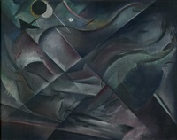 kubistische komposition mit figuren (schwimmern) by hans spiegel