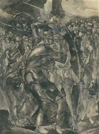 2 expressionistische szenen mit jesus am kreuz und frauen (2 works) by aloys (wachlmayr) wach