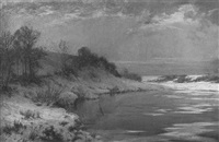a winter river landscape by harry william adams