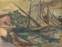 fischerboote im hafen von positano by carl ernst (karli sohn) sohn-rethel