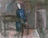 portrait einer jungen frau in blauem kleid am tisch by guglielmo janni